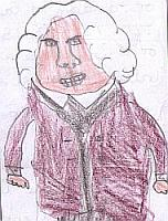 Drawing of Dr Johnson by a particpant in the Marketing Challenge workshop