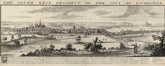 The South West Prospect of the City of Lichfield 1732