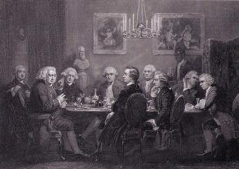 A literary party at Sir Joshua Reynolds, with Johnson, Garrick, Burke, Burney, Boswell, Goldsmith, Paoli and Wharton